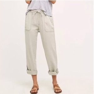 Anthropologie hei hei linen roll up pants